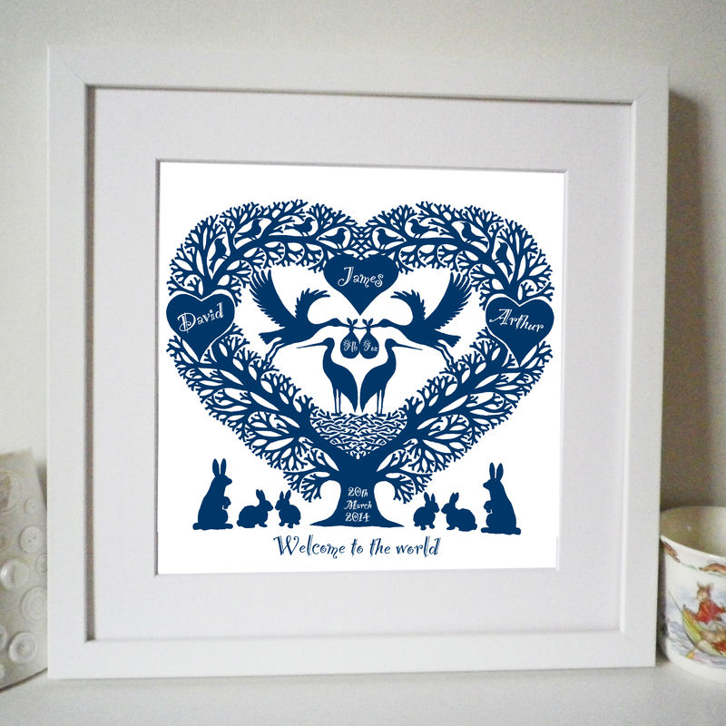 Personalised New Baby Storks Treeheart Print - product images  of