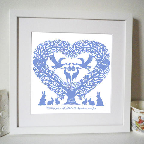 Personalised,New,Baby,Storks,Treeheart,Print,Art,Giclee,baby,birth,christening,birthdate,announcement,heart,storks,girl,boy,personalised,pink,blue,New_Baby