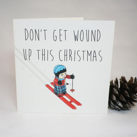 Don't,get,wound,up,skier,Christmas,card,Paper_Goods,Christmas Cards,Humorous Christmas Card, Skier Christmas Card