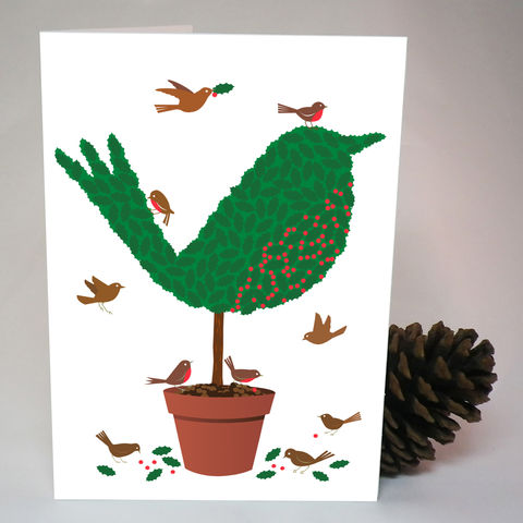 Topiary,Robin,Christmas,Card,Paper_Goods,Christmas Cards, Robin,