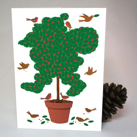 Topiary,Santa,Christmas,Card,Paper_Goods,Christmas Cards, Santa,