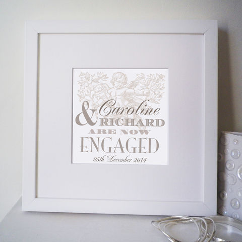 Personalised,Engagement,Names,Print,engagement print, vintage type, engagement gift