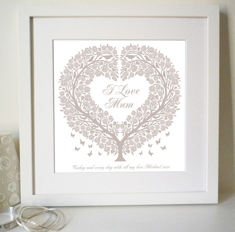 Personalised Mum's Rose Tree Heart Print - product images  of