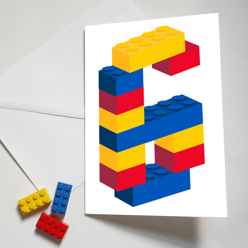 Personalised Building Brick Age Number Birthday Card - product images  of