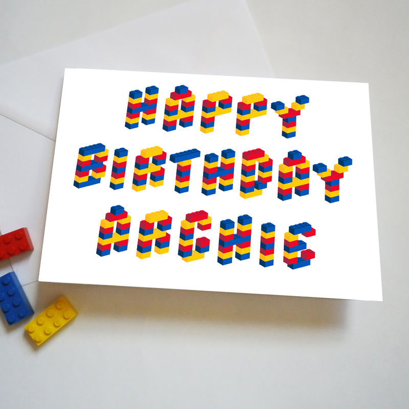 Personalised Name Building Bricks Alphabet Birthday Card - product images  of