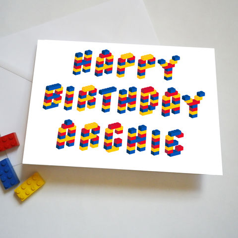 Personalised,Name,Building,Bricks,Alphabet,Birthday,Card,Child's Personalised Name Birthday Card