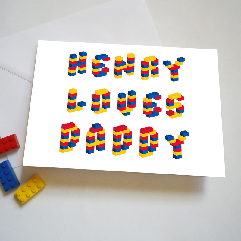 Personalised Building Brick Father's Day Or Birthday Card - product images  of