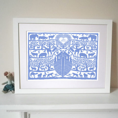 Personalised,Christening,,Baptism,or,New,Baby,Noah's,Ark,Tree,Heart,Print,Art,Digital,Christening_Present,Baptism_Present,Birth_Date_Present,Folk_Art,Papercut,Silhouette,Noahs_Ark,Childrens_Room,Animals,Biblical,Lake_Green,New_Baby