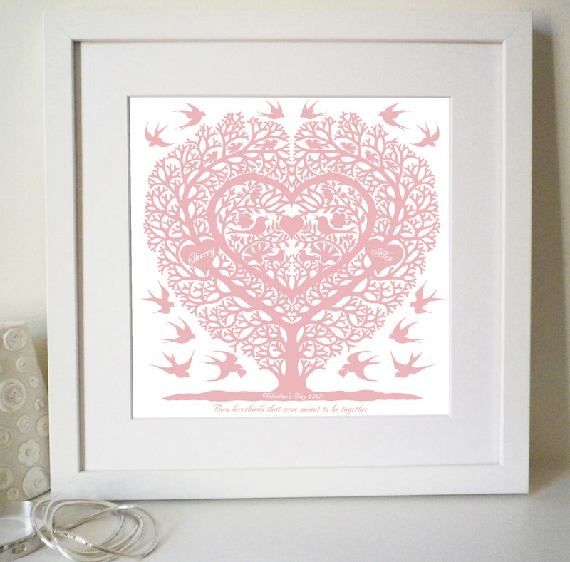 Personalised Valentines, Wedding, Engagement and Anniversary Love Birds Tree Heart Print - product images  of