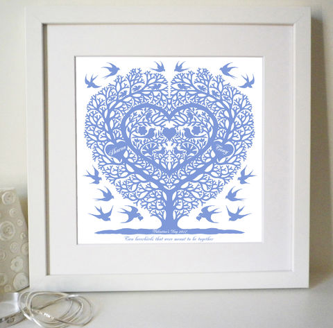 Personalised,Valentines,,Wedding,,Engagement,and,Anniversary,Love,Birds,Tree,Heart,Print,Personalised Print, Valentine Gift, Wedding Gift, Anniversary Gift, Engagement Gift, Paper Anniversary, Love Birds, Folk Art Heart, Folk Art Print, Papercut Style, Silhouette
