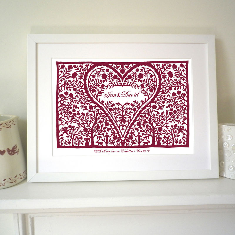 Personalised Wedding, Engagement, Anniversary or Valentine Romantic Love Heart Print - product images  of