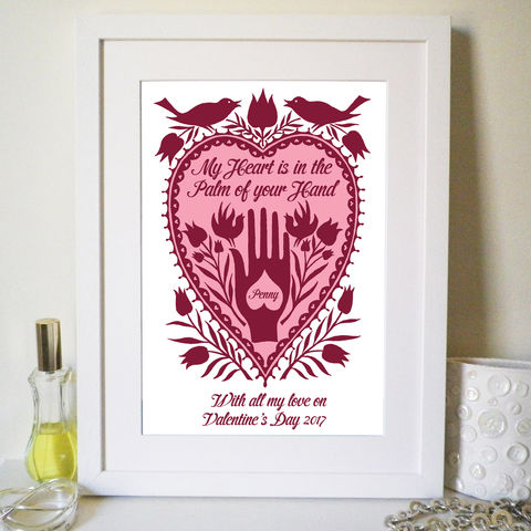 Personalised,Valentines,Romantic,Hand,in,Heart,Print,Art,Giclee,valentine,heart,weddings,anniversary,folk_art,sweetheart,lovebirds,romantic,pink,love_token,valentine_for_her,valentine_gift,couples
