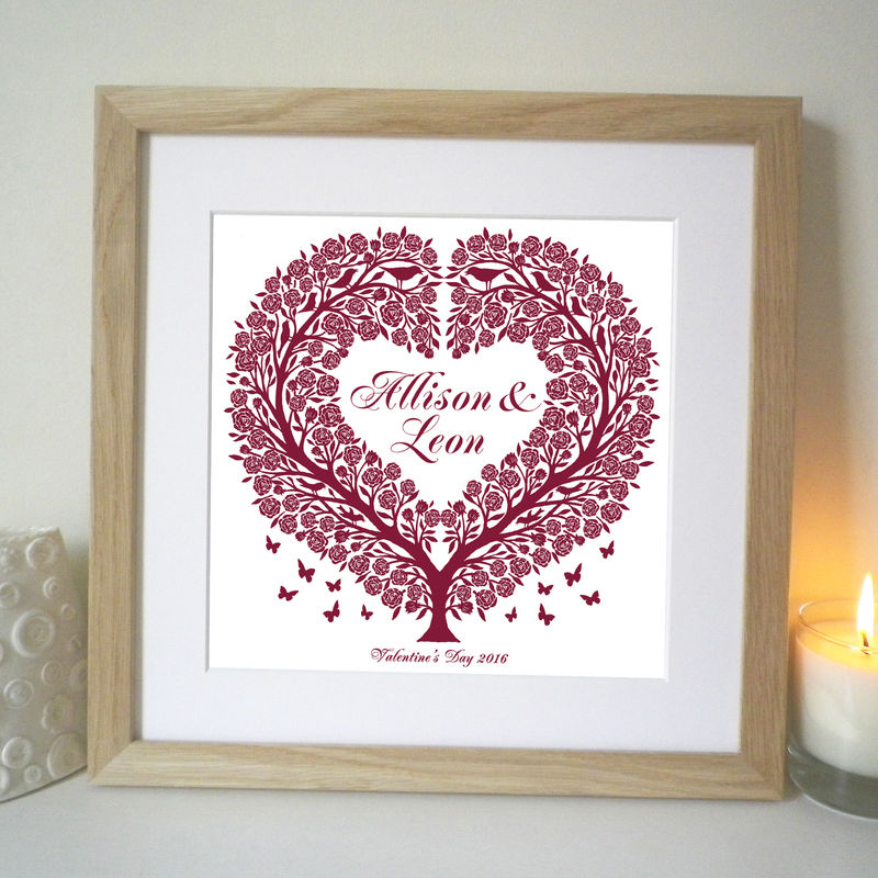 Personalised Wedding, Engagement, Anniversary and Valentine Rose Tree Heart Print - product images  of