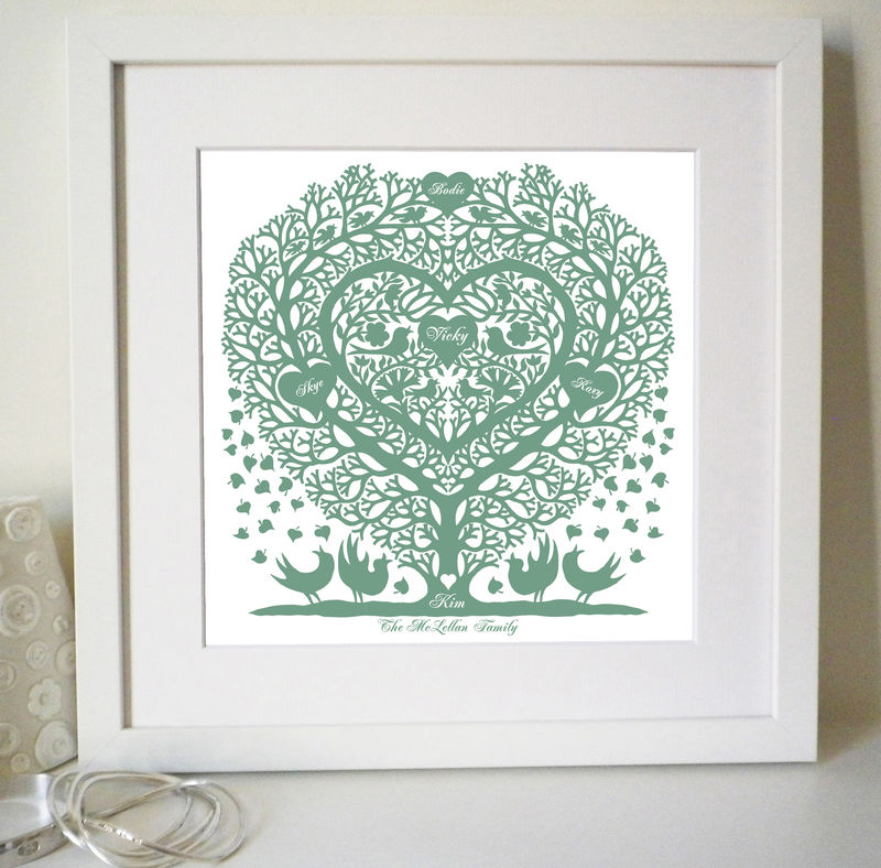 Personalised Wedding, Anniversary,Engagement, Valentine or Family Tree Treeheart with Songbirds Print - product images  of