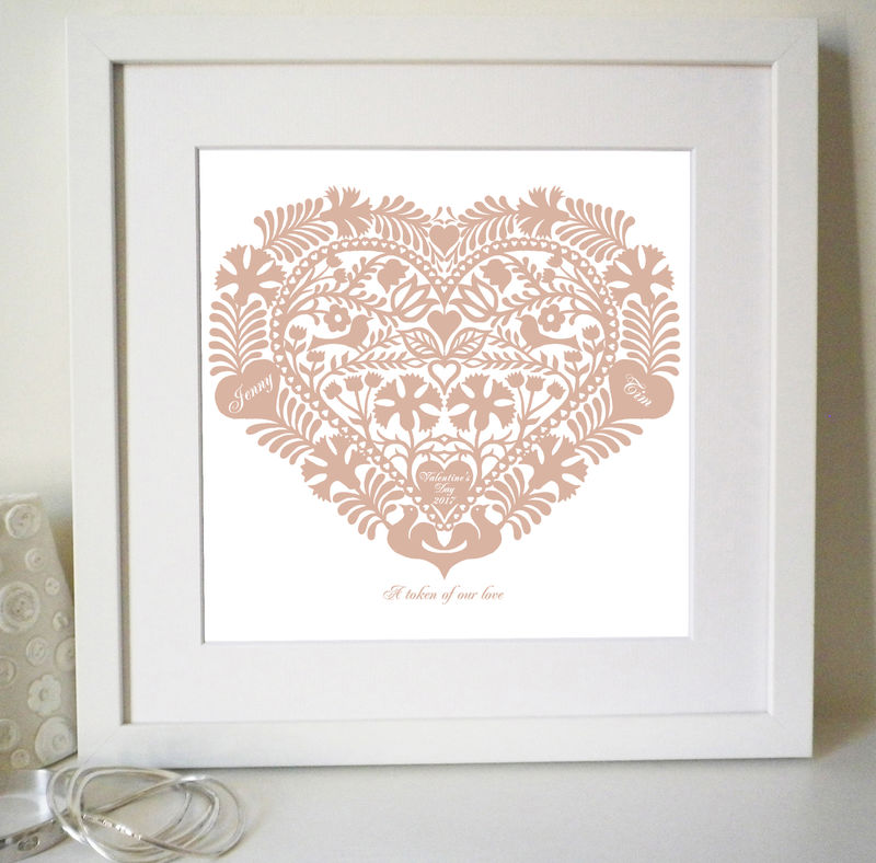 Personalised Valentine, Wedding, Engagement, or Anniversary Romantic Heart Love Token Print - product images  of