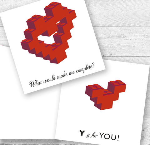Lovers,Building,Block,Heart,Card,Paper_Goods,Cards,Valentine,Engagement,Wedding, Anniversary,Birthday,Lego,BuildingBlocks