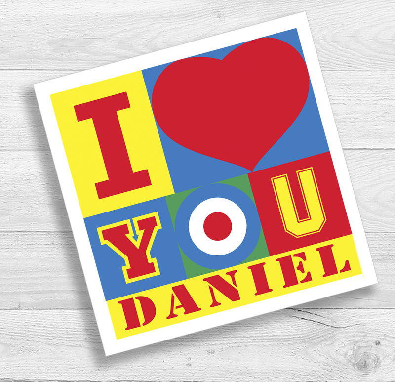 Personalised Pop Art I Love You Birthday or Anniversary Card - product images  of