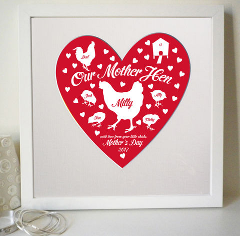 Personalised,Mother,Hen,Mother's,Day,or,Birthday,Print,Mother's Day, Mother's Gift, Personalised Mum Gift, Mum Heart Print, Gift for mum from children, Mother Hen Print