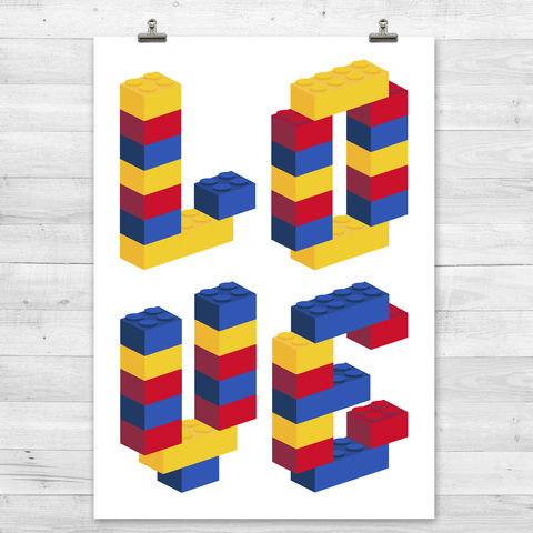 Love,Building,Block,Print,Graphic Print, Love Print, Lego, Building Blocks, Pop Art. Modern