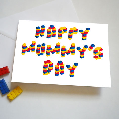 Building,Brick,Mummy's,Day,Card,Mother's Day Card, Lego bricks, Mummy's Day Card