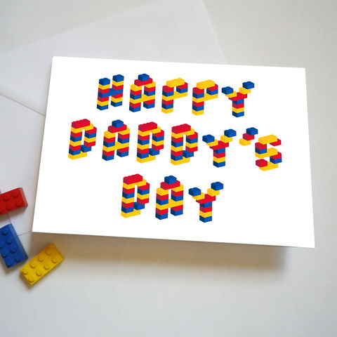 Building,Brick,Daddy's,Day,Card,Father's Day Card, Lego bricks, Daddy's Day Card