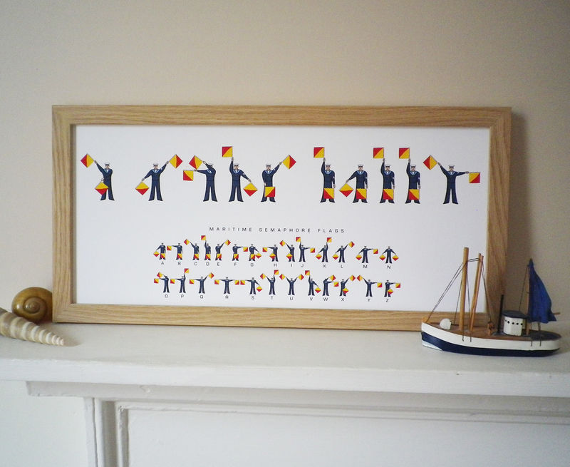 I Or We Love Daddy Semaphore Flags Print - product images  of