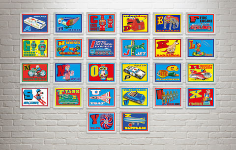 The,illustrated,alphabet,of,tin,toys,prints,illustrated Alphabet, Tin Toy, Alphabet Print, Wall Art, Retro Print, Initial Print, Name Print, Pop Art Print, Original Art Print