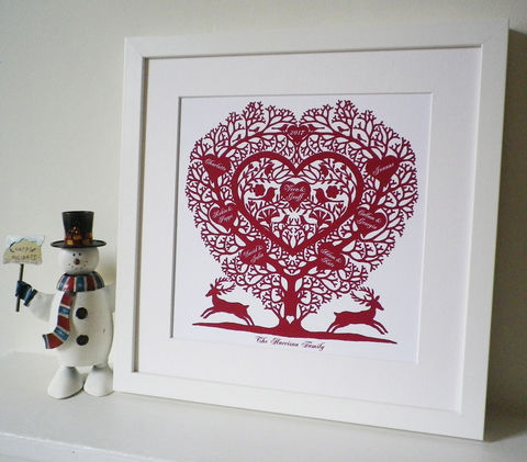 Personalised,Christmas,Family,Tree,Heart,Print,Art,Giclee,folk_art,country,heart,family_tree,personalised Christmas gift