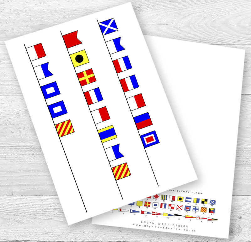 Personalised Name Signal Flags Birthday Card - product images  of
