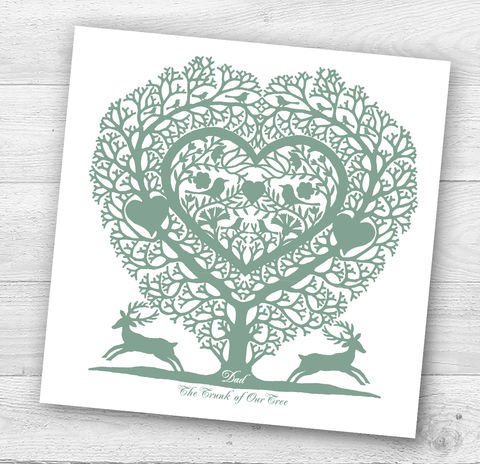 Dad,Tree,Heart,Father's,Day,or,Birthday,Card,Paper_Goods,Cards,Personalised, Father's Day,Folk_Art,Tree Heart
