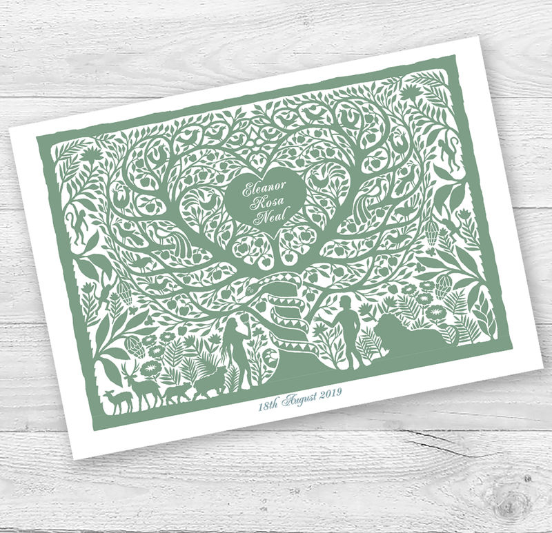 Personalised Adam and Eve Christening Or New Baby Card - product images  of