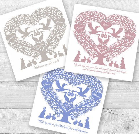 Personalised,Stork,Tree,Heart,New,Baby,Card,Paper_Goods,Cards,New Baby,Blank,Notelets,Folk_Art,Papercuts,Silhouettes,Hearts,Gift_for_her,Cards_Multipack,Love_Hearts,Six_Pack,Romantic,Gift_for_friend,Thank_You