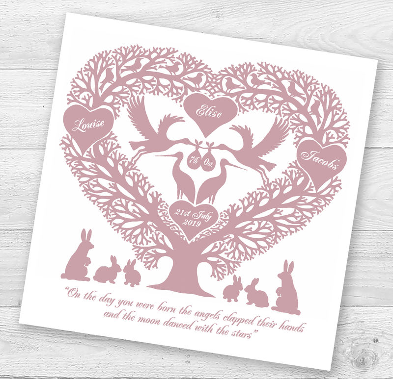 Personalised Stork Tree Heart New Baby Card - product images  of