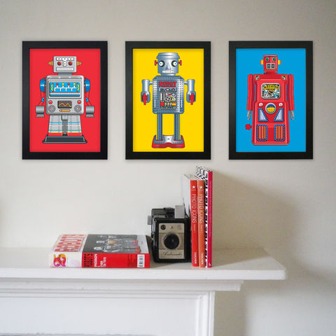 Robot,Prints,Robots, Pop Art, Modern Art, Primary Colours, Tin Toys