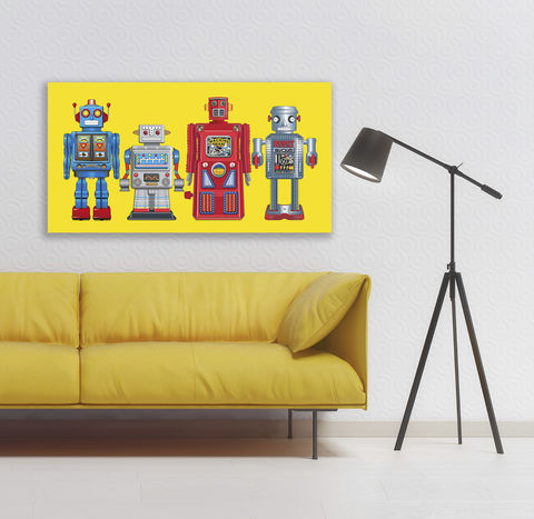 New,4,Robots,Canvas,Print,Art,Illustration,Pop,illustration,canvas_art,tin_toy_art,tin_toy,pop_art,robot,modern,primary_colours,andy_warhol,peter_blake,boys_room,retro,blue