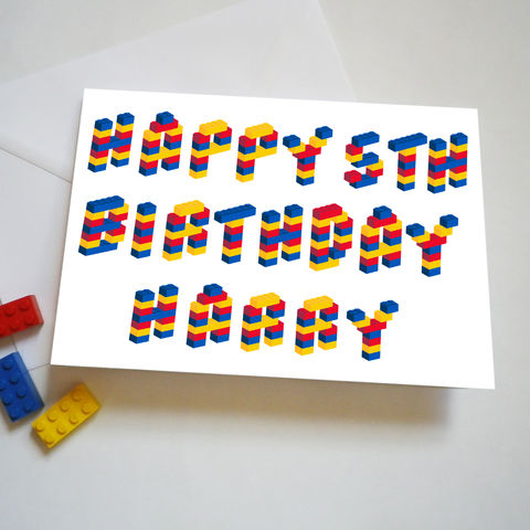 Personalised,Name,and,Age,Building,Bricks,Alphabet,Birthday,Card,Child's Personalised Name and Age Birthday Card
