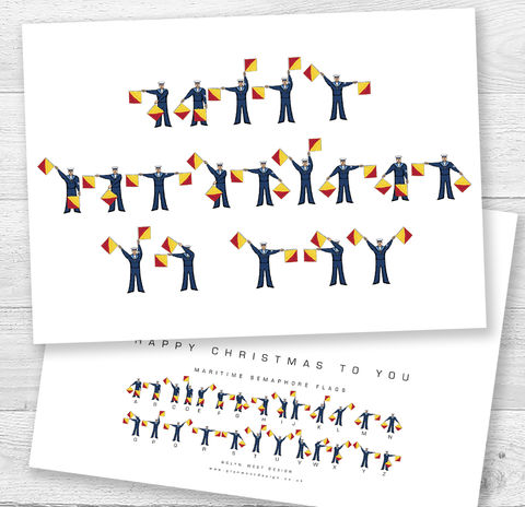 Nautical,Semaphore,Flags,Christmas,Card,Paper_Goods,Cards,Sailor,Navy,Semaphore_Flags,Yacht,Card_sent_direct,Card_for_sailor,Sailing