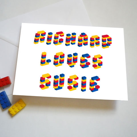Valentine,Personalised,Names,Building,Bricks,Alphabet,Love,Card,Valentines Personalised Name Building Block Card