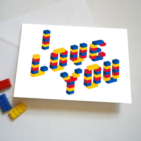 I,Love,You,Building,Bricks,Valentines,or,Birthday,Card,Lego Valentine Card/ Lego Birthday Card/ Lego Love Card