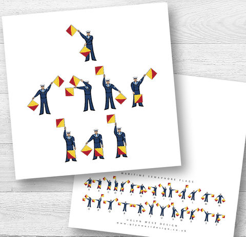 Semaphore,Flags,I,Or,We,Love,Dad,or,Daddy,Fathers,Day,Birthday,Card,Paper_Goods,Cards,Personalised, Fathers Day,Nautical, Sailing, Sailor