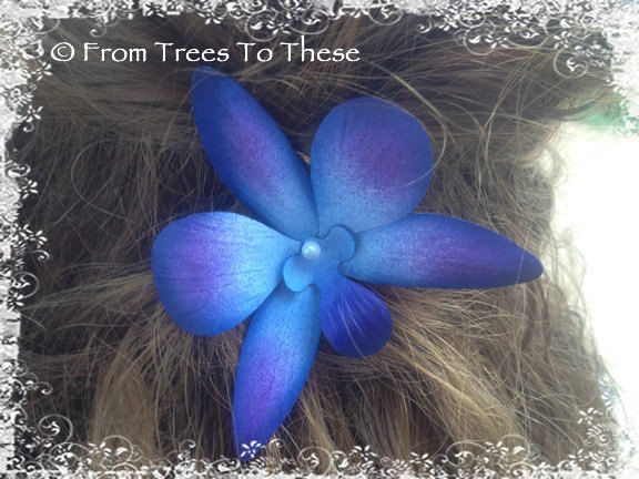 Blue Dendrobium Hair Pin/Clip (1) - product images  of