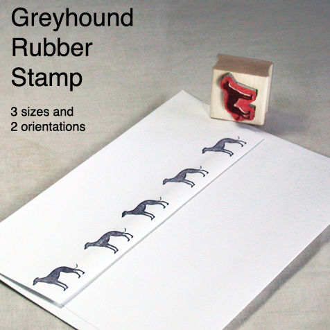Standing,Greyhound,Stamp,with,License,for,use,greyhound rubber stamp, standing greyhound silhouette, jane walker greyhound design