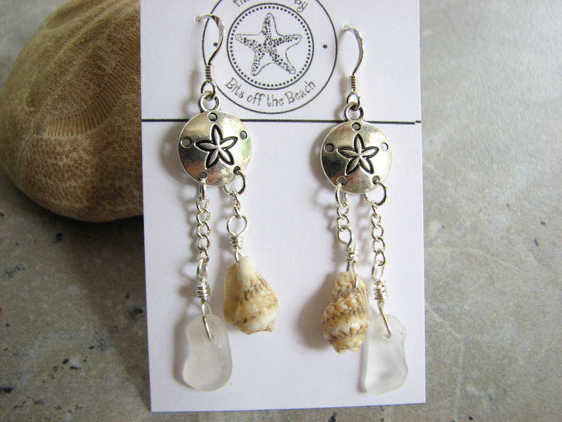 Sand Dollar Earrings with Beach Glass and Sea Shell Dangles - product images  of