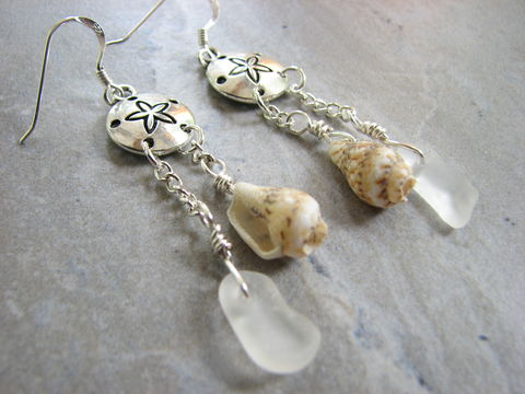 Sand,Dollar,Earrings,with,Beach,Glass,and,Sea,Shell,Dangles,sand dollar earrings, beach glass earrings, sea shell earrings, long dangle earrings, white sea glass, sterling silver, seaglass jewelry, womens unique handmade earrings, ocean, nautical, mermaid jewelry, sanddollar, chandelier earrings long dangly beach