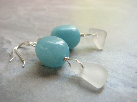 Sea,Blue,Quartz,Beaded,Glass,Earrings,sea blue, blue quartz crystal, bead earrings, sea glass earrings, seaglass earrings, white frosted beach glass jewelry ocean, nautical, calming stone, bridal earring, beach bride, something blue, womens