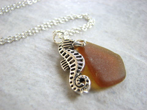 Genuine,Sea,Glass,Necklace,with,Silver,Seahorse,Charm,genuine sea glass, amber brown, sea glass necklace, silver seahorse charm, seahorse necklace, seaglass necklace, seahorse jewelry, amber sea glass jewelry, sterling silver sea glass necklace, handmade jewelry handmade necklace, beach jewelry, nautical jew