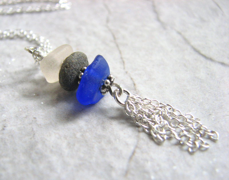 Sea Glass and Beach Stone Silver Tassel Necklace - product images  of
