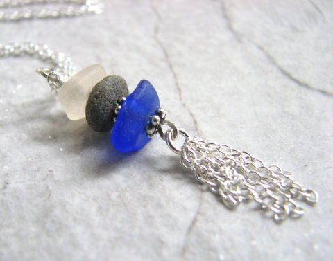 Sea,Glass,and,Beach,Stone,Silver,Tassel,Necklace,tassel jewelry, tassel necklace, cairn jewelry, cairn necklace, sea glass necklace, seaglass necklace, cobalt blue, frosted white glass, sterling silver chain tassel