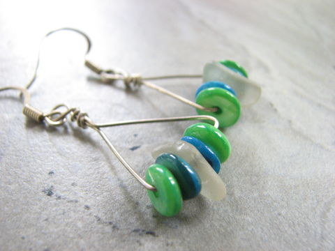 Green,and,Blue,Triangle,Sea,Glass,Hoop,Earrings,Triangle earrings, sea glass hoop earrings, sea glass earrings, green and blue earrings, hand-crafted earrings, silver filled wire wrap, seaglass earrings, seaglass hoops, mother of pearl shell earrings, dyed mother of pearl, caribbean jewelry, tropical e