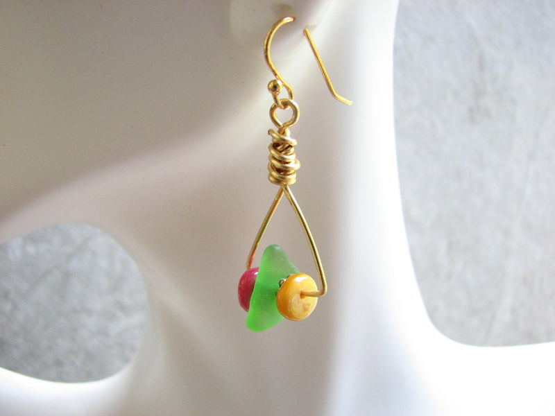 Sea Glass Multi Color Triangle Gold Hoop Earrings - product images  of